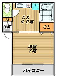 兵庫県神戸市長田区若松町1丁目の賃貸マンションの間取り