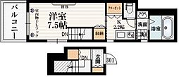 小田急小田原線 参宮橋駅 徒歩2分の賃貸マンション 3階1Kの間取り