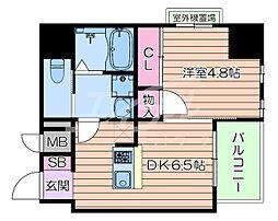 おおさか東線 南吹田駅 徒歩10分の賃貸マンション 6階1DKの間取り