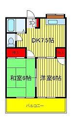 第3コ−ポ立沢[2階]の間取り
