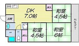 大阪府大阪市住吉区山之内3丁目の賃貸マンションの間取り