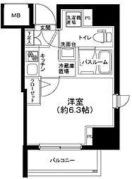 ティモーネ立川 9階1Kの間取り