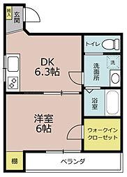 マーリエOKOSHI(おこし)[1A号室]の間取り