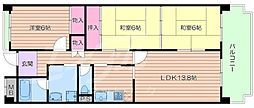 大阪府箕面市如意谷4丁目の賃貸マンションの間取り