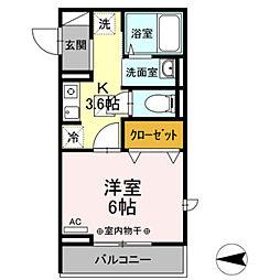 (仮)D-room国領町4丁目 1階1Kの間取り