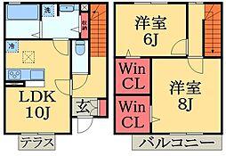 千葉県大網白里市柿餅の賃貸アパートの間取り
