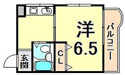 サンシャルムレディース小松 3階1Kの間取り