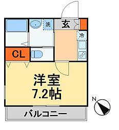 JR常磐線 新松戸駅 徒歩10分の賃貸アパート 1階1Kの間取り