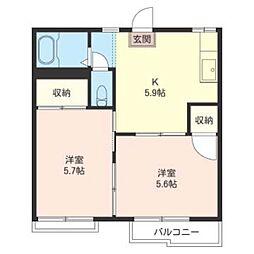 メゾン 横田 B 2階2Kの間取り