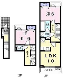 JR総武線 稲毛駅 バス30分 山王町下車 徒歩9分の賃貸アパート 2階2LDKの間取り