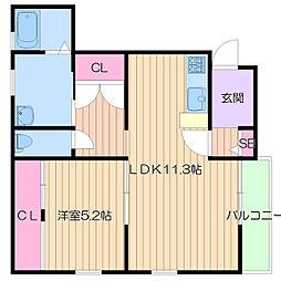 大阪府大阪市住吉区長居4丁目の賃貸アパートの間取り