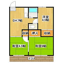 第3グリーンビラ[1階]の間取り