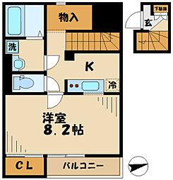 京王相模原線 多摩境駅 徒歩13分の賃貸アパート 2階1Kの間取り