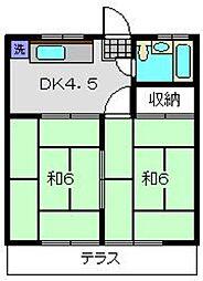 神奈川県横浜市港南区丸山台2丁目の賃貸アパートの間取り