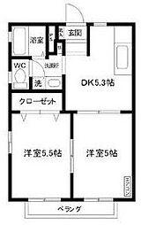 神奈川県川崎市多摩区宿河原1丁目の賃貸アパートの間取り