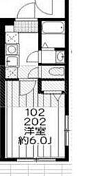 IXO柳沢 2階1Kの間取り
