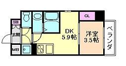 サムティ福島ルフレ 4階1DKの間取り