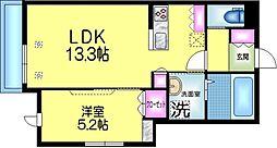 東武伊勢崎線 鐘ヶ淵駅 徒歩6分の賃貸マンション 3階1LDKの間取り
