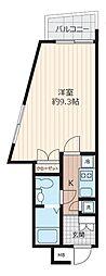 東武東上線 下赤塚駅 徒歩10分の賃貸マンション 6階1Kの間取り