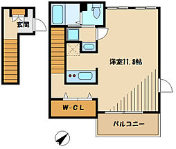 京王相模原線 京王稲田堤駅 徒歩10分の賃貸アパート 2階1Kの間取り