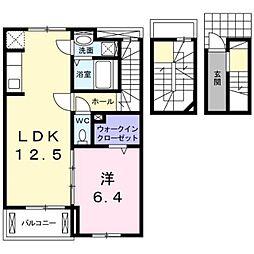 プラシードII 3階1LDKの間取り