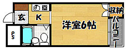 Osaka Metro今里筋線 井高野駅 徒歩3分の賃貸マンション 3階1Kの間取り