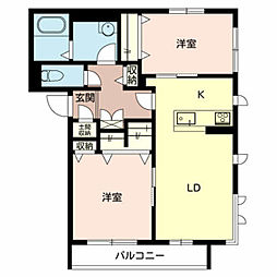 Osaka Metro御堂筋線 北花田駅 徒歩15分の賃貸マンション 2階2LDKの間取り
