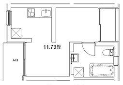 玉川台のアパートメント 3階ワンルームの間取り