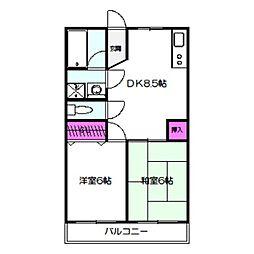 ヨシミハイツ 2階2DKの間取り