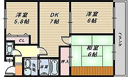 大阪府堺市北区南長尾町2丁の賃貸マンションの間取り