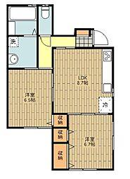 JR青梅線 福生駅 バス8分 あきる野市民球場下車 徒歩5分の賃貸アパート 1階2LDKの間取り