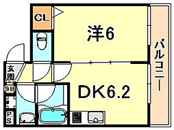 グランビュー六甲 4階1DKの間取り