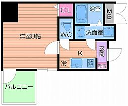 Osaka Metro谷町線 谷町九丁目駅 徒歩1分の賃貸マンション 6階1Kの間取り