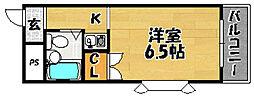 阪急京都本線 上新庄駅 徒歩15分の賃貸マンション 6階1Kの間取り