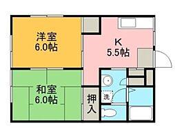 神奈川県横浜市緑区長津田2丁目の賃貸アパートの間取り