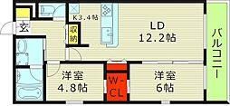 Osaka Metro今里筋線 新森古市駅 徒歩3分の賃貸マンション 1階2LDKの間取り