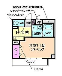 大阪府茨木市豊川3丁目の賃貸マンションの間取り