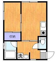 西ケ原アパートメント 1階1DKの間取り