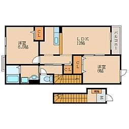 滋賀県東近江市五個荘竜田町の賃貸アパートの間取り