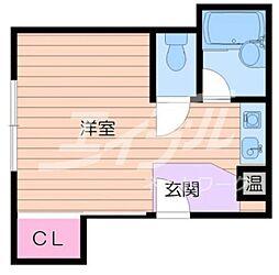 阪急千里線 関大前駅 徒歩3分の賃貸マンション 2階ワンルームの間取り