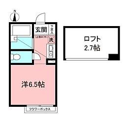 ポンデロッサ小田壱番館 1階ワンルームの間取り