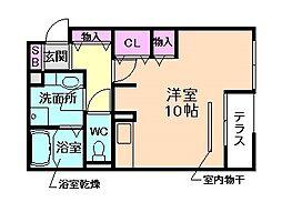 Osaka Metro長堀鶴見緑地線 京橋駅 徒歩9分の賃貸アパート 2階ワンルームの間取り