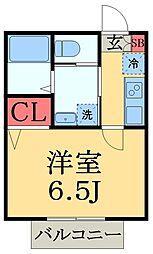 京成千原線 大森台駅 徒歩5分の賃貸アパート 2階1Kの間取り