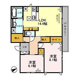仮)D-room南住吉1丁目 1階2LDKの間取り