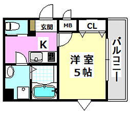阪急京都本線 南茨木駅 徒歩7分の賃貸マンション 2階1Kの間取り