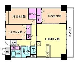 サニープレイス大阪港[7階]の間取り