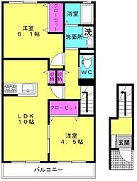 サンスーシー B棟[2階]の間取り