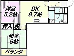 埼玉県所沢市美原町2丁目の賃貸マンションの間取り