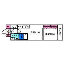 レオンコンフォート天王寺東 3階1DKの間取り