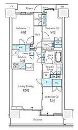 横浜市営地下鉄ブルーライン センター北駅 徒歩5分の賃貸マンション 3階3LDKの間取り